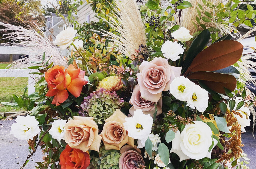 Getting married with beautiful flowers in Long Island, NY
