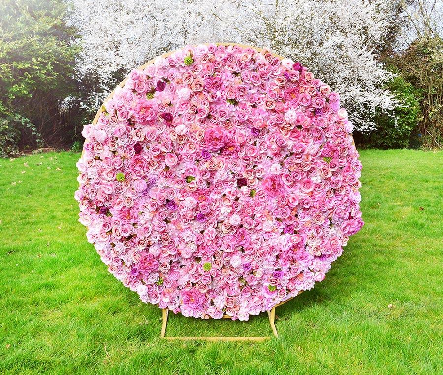 Blossom pink wedding flower wall